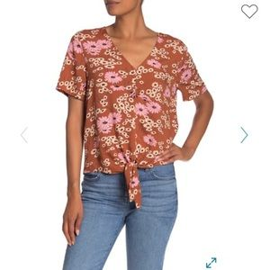 Madewell Daisies Tie Front Top
